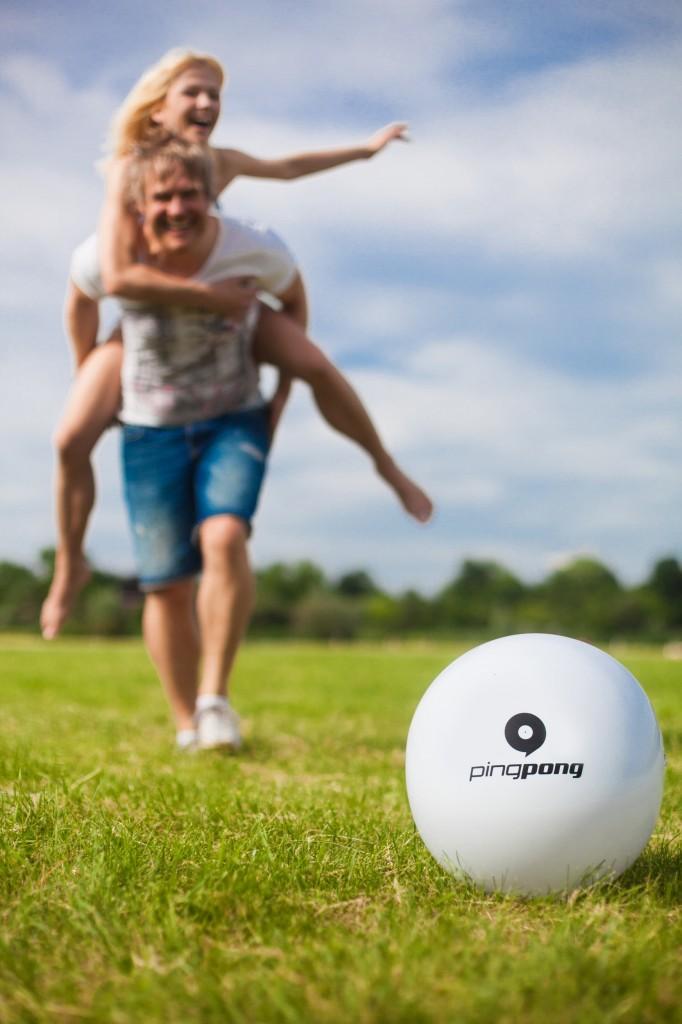 Pingpong group members with golf ball